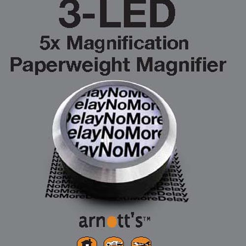 Image for The 5X Paperweight Magnifier with 3 LED Lights (Colour choices are Blue, Red, Black)
