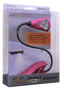 Image for UltraFlex3 Triple Super LED Booklight - Pink Colour (uses 3 AAA Batteries)