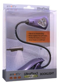 Image for UltraFlex3 Triple Super LED Booklight - Purple Colour (uses 3 AAA Batteries)