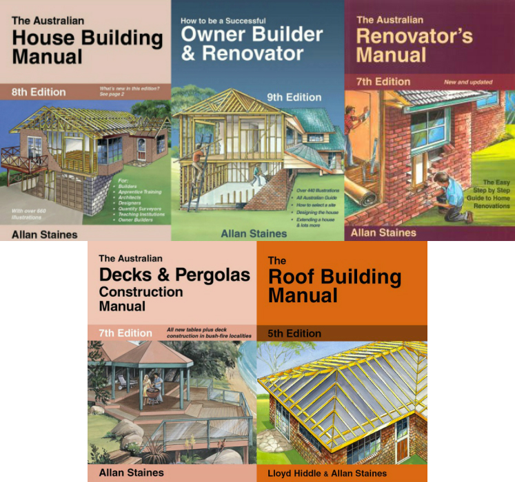 Image for 5 Book Set: The Australian House Building Manual 8th Edition + How to be a Successful Owner Builder and Renovator 9th Edition + The Australian Renovator's Manual 7th Edition + The Australian Decks and Pergolas Construction Manual 7th Edition + The Roof Building Manual 5th Edition