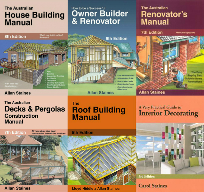 Image for 6 Book Set: The Australian House Building Manual 8th Edition + How to be a Successful Owner Builder and Renovator 9th Edition + The Australian Renovator's Manual 7th Edition + The Australian Decks and Pergolas Construction Manual 7th Edition + The Roof Building Manual 5th Edition + A Very Practical Guide To Interior Decorating 3rd Edition