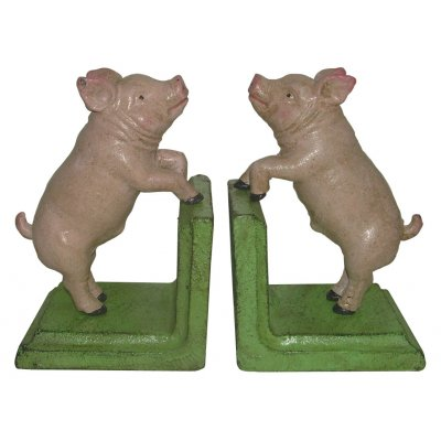 Image for Hand Painted Cast Iron Piggy Pig Bookends - Green Base