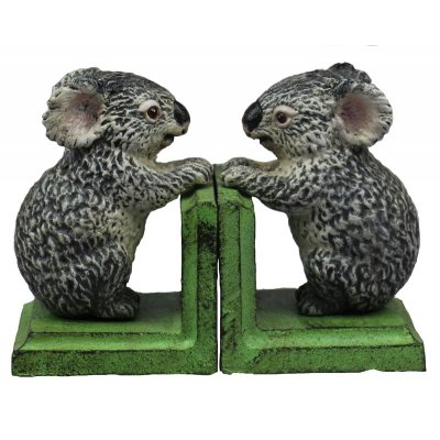 Image for Hand Painted Cast Iron Koala Bookends - Green Base *** Temporarily Out of Stock ***