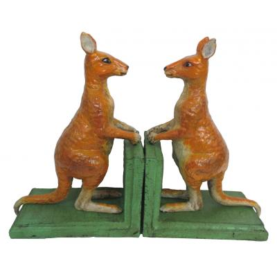 Image for Hand Painted Cast Iron Red Kangaroo Bookends - Green Base