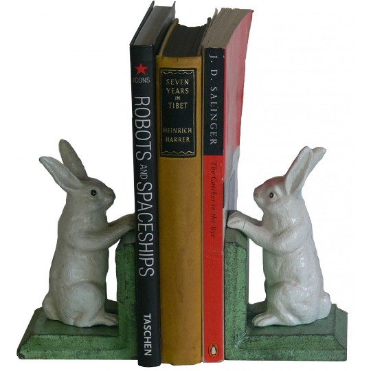 Image for Hand Painted Cast Iron Bunny Rabbit Bookends - Green Base