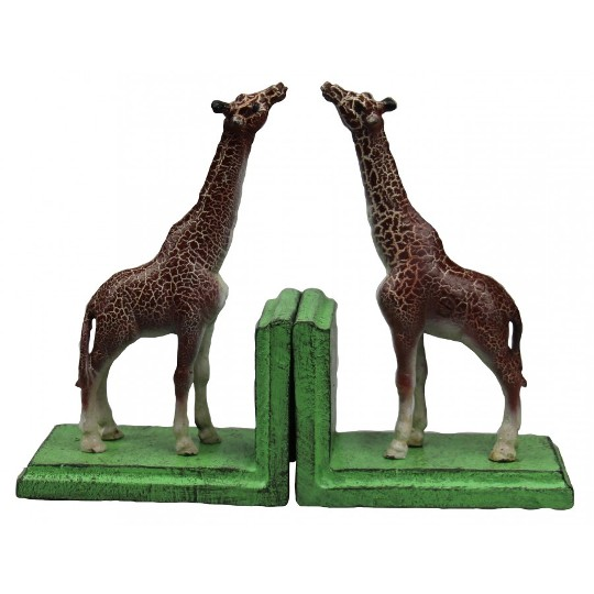 Image for Hand Painted Cast Iron Giraffe Bookends - Green Base