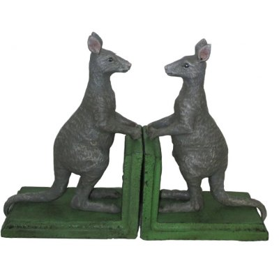 Image for Hand Painted Cast Iron Grey Kangaroo Bookends - Green Base