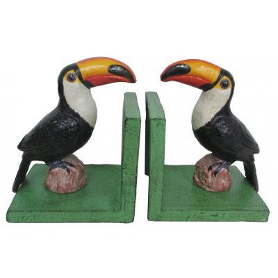 Image for Hand Painted Cast Iron Toucan Bird Bookends - Green Base *** Temporarily Out of Stock ***