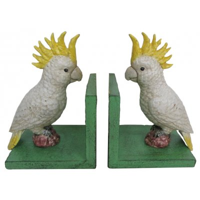Image for Hand Painted Cast Iron Cockatoo Bird Bookends - Green Base