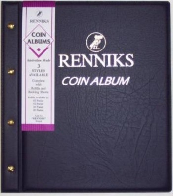 Image for Renniks Coin Album - Blue padded leatherette cover - including 6 coin album pages